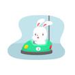 Cartoon rabbit on bumper car vector illustration - 166863056
