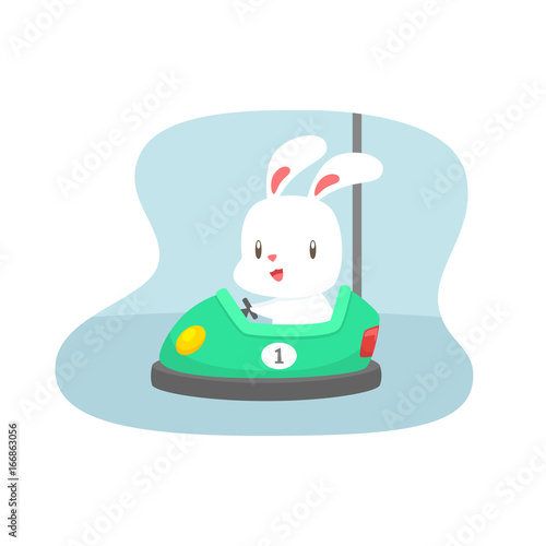 Cartoon rabbit on bumper car vector illustration