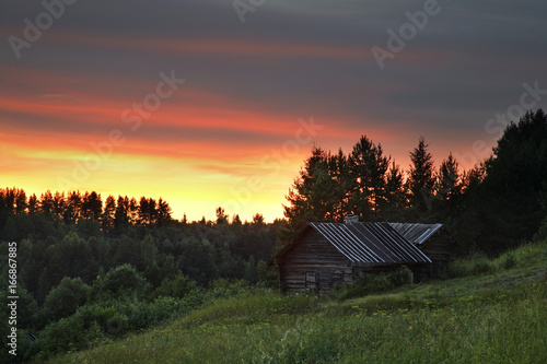 Foto op Canvas Cappuccino View of Maselga village. Kargopol district. Arkhangelsk Oblast. Russia