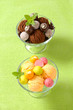 Ice cream coupes with chocolate truffles and fruit-flavored pralines