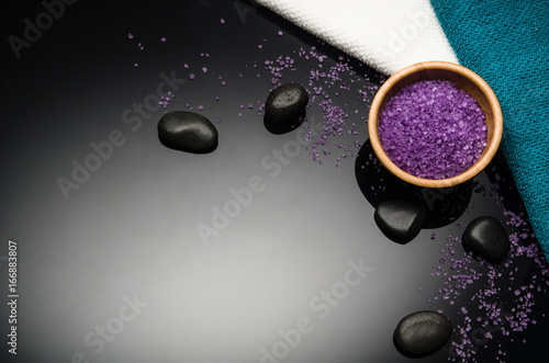 Staande foto Spa Spa concept background on black reflective background. Top view frame product photograph with copy space. Concept photograph with room for text or advertising.