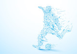 Abstract low polygon football player kicking the ball wireframe mesh on soft blue background - 166885873