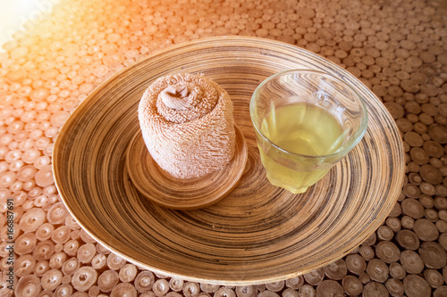 Staande foto Spa Spa cosmetic products concept, spa background with Beautiful composition of spa treatment and drinking herb on wooden table.