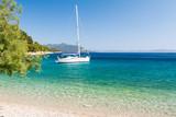 beautiful beach with yacht on dalmatian island, Dalmatia, Croatia - 166898254
