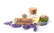Leinwanddruck Bild - Auszeit  -  Freisteller  -  Lavendelöl, Lavendel, Blüten