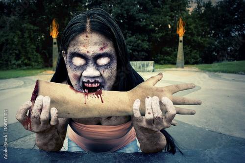 Evil Zombie Monster Eating Arm Poster