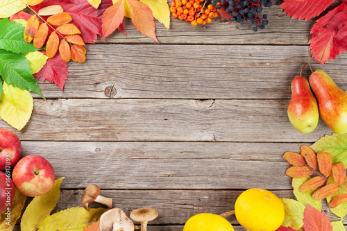 Autumn wooden background