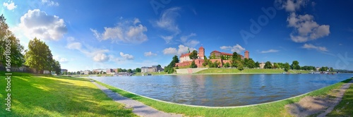 Summer panorama of Krakow with Wawel castle, Poland