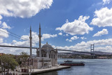 Istanbul, Turkey -August 1, 2017 ; Ortakoy Mosque on the Bosphorus shore at Istanbul