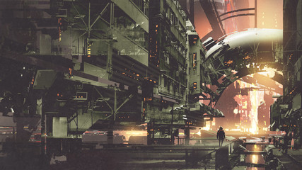 sci-fi scenery of cyberpunk city with futuristic buildings, digital art style, illustration painting © grandfailure