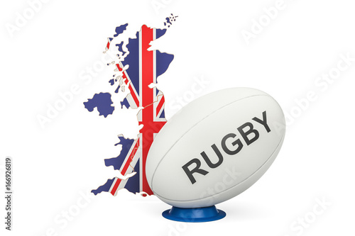 Rugby Ball with map of United Kingdom, 3D rendering