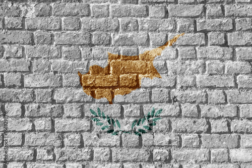 Foto op Plexiglas Cyprus Cyprus Flag Painted on brick wall