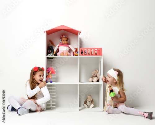 Baby Girls child Kids playing with doll house for mini furniture toys and dolls