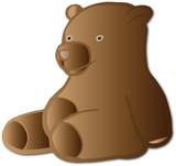 Mignon et marrant ours en peluche brun assis qui rigole pour enfant