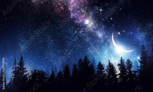 Stary clear night sky. Mixed media