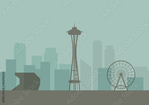 Silhouette of Seattle skyline