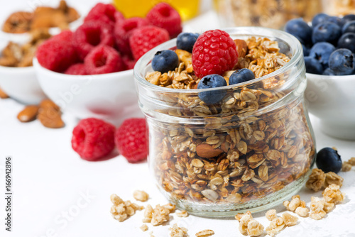 Sticker healthy products for breakfast, granola and fresh berries