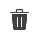 Trash bin simple icon vector, filled flat sign, solid glyph isolated on white. Delete symbol, logo illustration. Pixel perfect vector graphics - 166945449