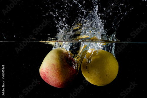 Apple and lemon in water - 166945868