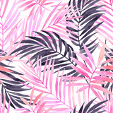 Fototapety Watercolour pink colored and graphic palm leaf painting.