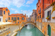 Views of the most beautiful channels of Venice, narrow streets, houses.