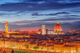 Beautiful landscape above, panorama on historical view of the Florence from  Piazzale Michelangelo point. Night time.Italy. - 166948813