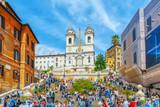 Spanish Steps (Scalinata di Trinita dei Monti), Obelisco Sallustiano on Spanish Steps Square(Piazza della Trinita dei Monti) with tourists. - 166949220