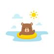 Cartoon bear swimming vector illustration - 166951085