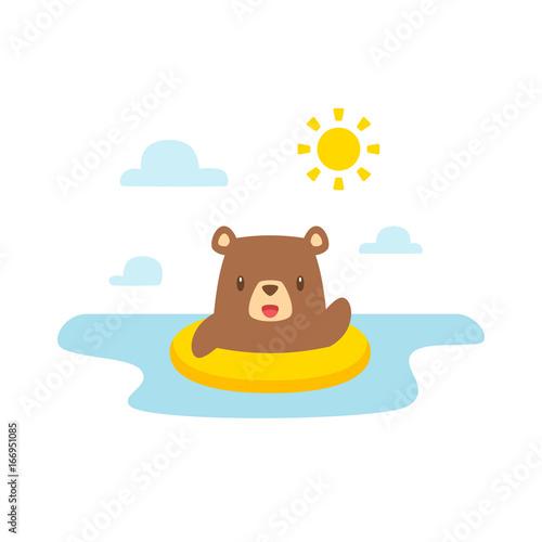 Cartoon bear swimming vector illustration