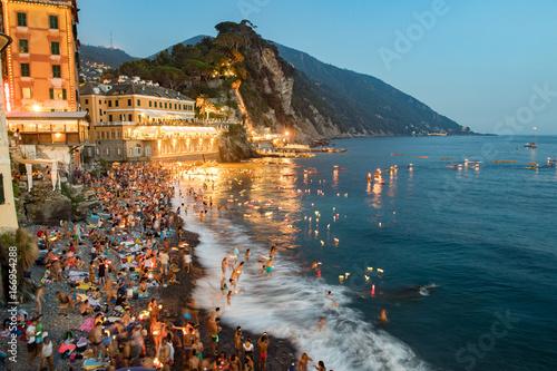 Foto op Plexiglas Liguria CAMOGLI, ITALY - AUGUST 6 2017 - Stella Maris traditional candles on the sea celebration