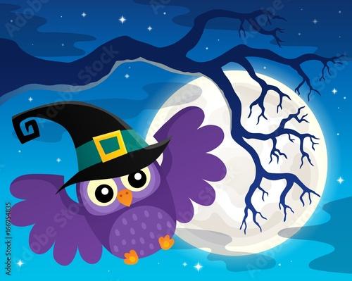 Tuinposter Voor kinderen Halloween owl topic image 1
