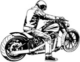 Harley Davidson i Jeździec - czarno-biały ilustracji, wektor