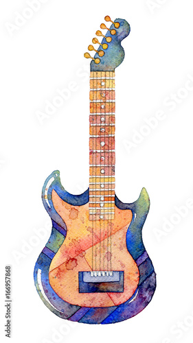 Watercolor electric guitar on white background. Abstract hand drawn illustration