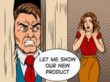 Fototapety Salesman breaking door comic book style vector