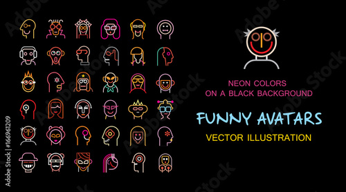 Funny vector avatar set