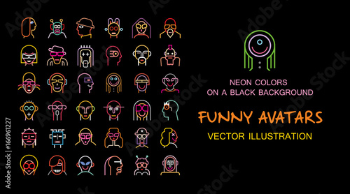 Set of Funny vector avatars