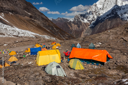 Base camp below Manaslu mountain in highlands of Nepal