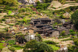 View to the poor village in highlands of Himalayas