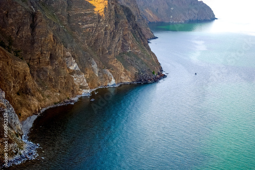 Baikal lake summer landscape, view from a cliff, Russia
