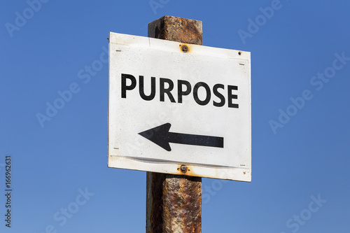 Purpose word and arrow signpost Poster