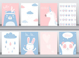 Set of cute animals poster,template,cards,bear,rabbit,Vector illustrations