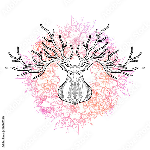 Aluminium Hipster Hert Deer head on beautiful floral background, vector illustration
