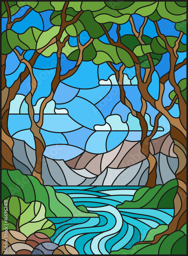 illustration-in-stained-glass-style-with-a-rocky-creek-in-the-background-of-the-sunny-sky-mountains-trees-and-fields
