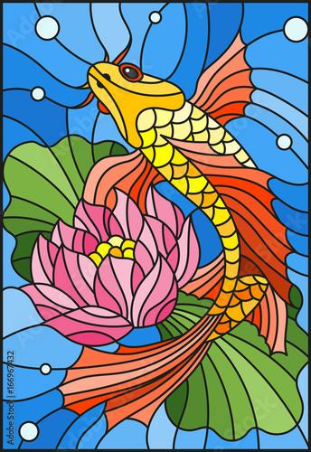 ilustracja-w-stylu-witraza-ze-zlota-rybka-i-kwiat-lotosu-przeciwko-wodzie-i-fiolki-z-powietrzem