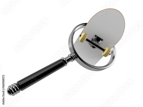 Foto op Aluminium Skateboard Skateboard with magnifying glass