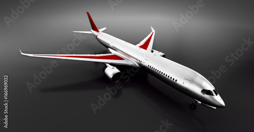 Passenger airplane in studio or hangar. Aircraft, airline Poster