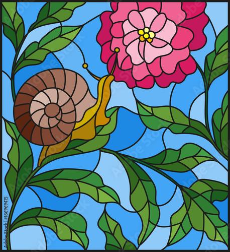 ilustracja-w-stylu-witrazu-ze-slimaka-i-rozowy-kwiat-przeciwko-zieleni