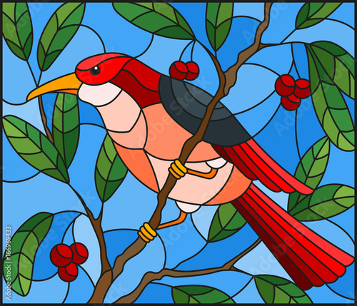 illustration-in-the-style-of-stained-glass-with-a-beautiful-red-bird-on-a-background-of-branch-of-tree-and-sky