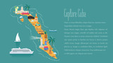 Map of Cuba in article template vector illustration, design element