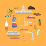 Set of icons with Cuban landmarks in vector